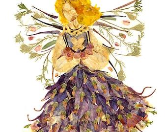 "Fantasy Fairy Flower Art - ""Woodland Faery"" 8 x 10 Fine Art Giclee Print"