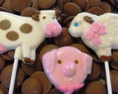 "36 Chocolate Farm Animal Lollipops on 6"" stick - 12 cows 12 Sheep 12 Piggys"