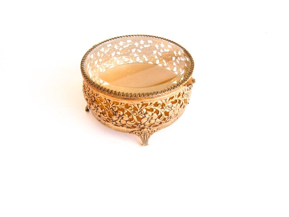 Vintage Round Filigree Jewelry Box with Beleved Glass Top