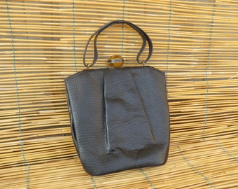 Vintage Lady's 1920's Mini Black Leather Hand Bag