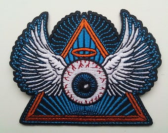 Psychedelic flying eye with wings embroidered patch - original artwork - grateful dead phish bisco biker