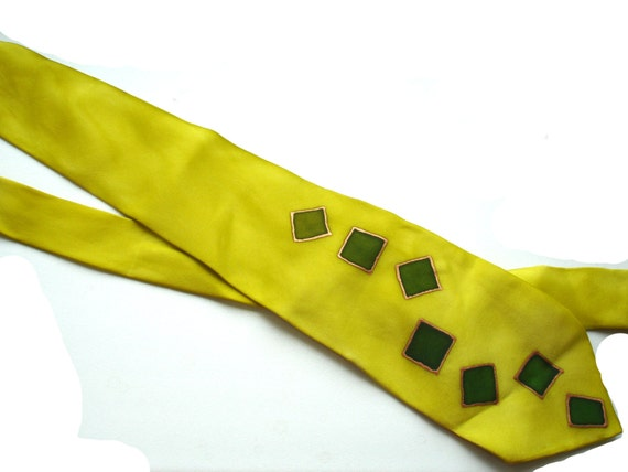 Silk Painted Tie Men Yellow Green Squares