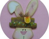 Easter Bunny Pin/Magnet Spring Tulip Hand Painted Wood