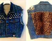 Large Guess brand Denim Cheetah Faux Fur Studded Vest