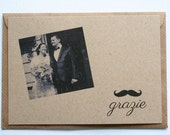 Photo thank you cards vintage style on recycled kraft - set of 50