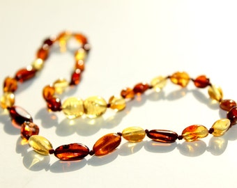 New Baltic Amber Baby Teething Necklace Olive Form Beads
