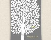 Wedding Guest Book Alternative - The Wishwik Tree Guest Book - A Peachwik Interactive Art Print - 150 guest sign in Guestbook