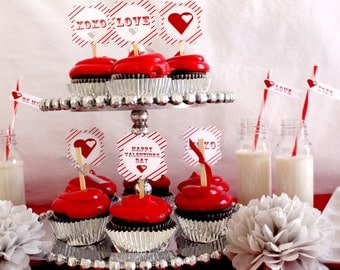 Valentine's Day Party So Sweet Cupcake Toppers Party Circles PRINTABLE