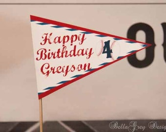 Baseball Party Decorations 5 inch Pennant Cake Topper