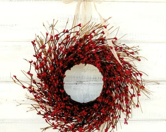 4th of July Wreath-Mini Wreath-Red Mini Window Wreath-Twig Wreath-Christmas Gift-Christmas Wall Hanging-Rustic Home Decor-Centerpiece-Gifts