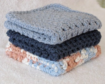 Cotton Dishcloths/Washcloths Crocheted from Sugar'nCream Cotton Yarn Set of Three in Navy/Denim Blue/White and Coffee Brown Spa Facecloths