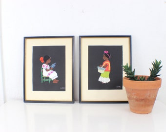 70's Painting Southwestern  of a Mexican Child Framed Wall Hanging