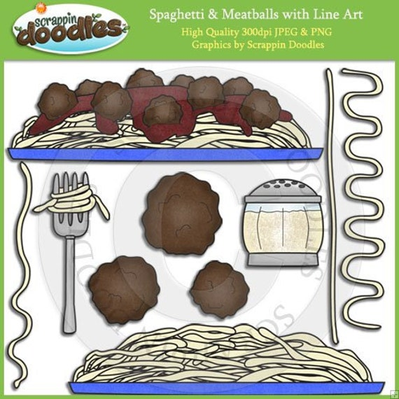 Spaghetti & Meatballs Clip Art with Line Art