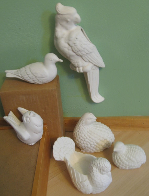 Items similar to birds ceramic bisque pottery collection for Bisque ceramic craft stores
