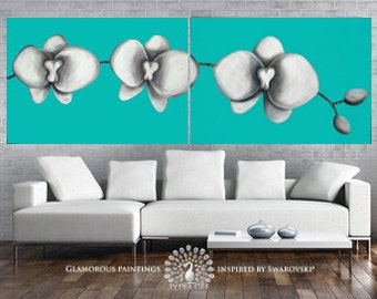 Large ORIGINAL art paintings. Large wall art White Orchids. Large original art diptych with Swarovski®. Turquoise art. Mint green art.