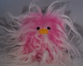 """Furry Monster Plush - 4"""" Pink and White Coodle"""