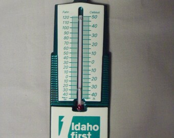 Vintage Metal Advertising Thermometer-Idaho First the Bank-FREE USA Shipping