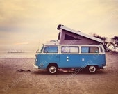 Campin at the Beach an 11x14 Photograph of a VolksWagon Van Camping at the Beach gives a Bohemian Retro Style - CaliforniaSenora