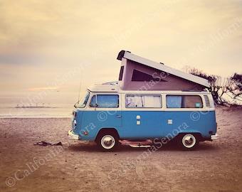 Campin at the Beach an 11x14 Photograph of a VolksWagon Van Camping at the Beach gives a Bohemian Retro Style