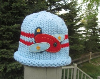 Hand Knit Baby Hat, Blue Knit Baby Hat with Airplane