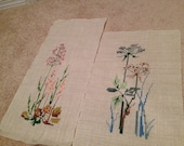 2 Herbal flower scene crosstitched on linen