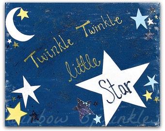 Children's Wall Art Print 8x10- nursery rhyme, twinkle twinkle little star, Kids Art, Kids Room Art, Nursery Art, Nursery Room Decor