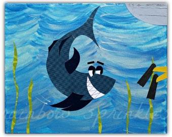 Children's Wall Art Print 8x10- shark, fish, ocean, sea, Kids Art, Nursery Art, nursery room decor, play room