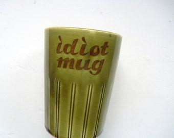 Vintage Idiot Prank Ceramic Coffee Mug with Inside Handle