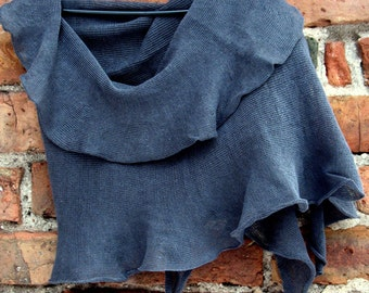 Linen Scarf Shawl Wrap Stole Asphalt Gray Light