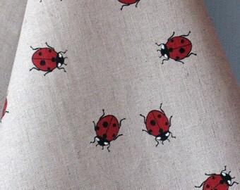 Linen Cotton Dish Towels Tea Towels Ladybug Red Black - Tea Towels set of 2