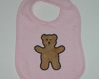 Teddy Bear Toddler Bib - Teddy Bear Applique Pink Terrycloth Toddler Bib
