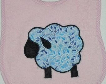 SheepToddler Bib - Black Face Sheep Applique Pink Terrycloth Toddler Bib