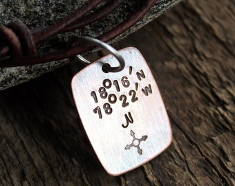 Men's Longitude Latitude Personalized Necklace - Hand Stamped Rustic Copper and Leather
