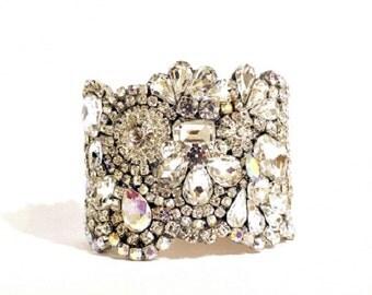 Stunning All Swarovski Old Hollywood Crystal Cuff