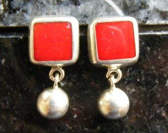 SALE...Was 34.75...Now 19.75.....Vintage Red Enamel Sterling Silver Earrings Lot 2887