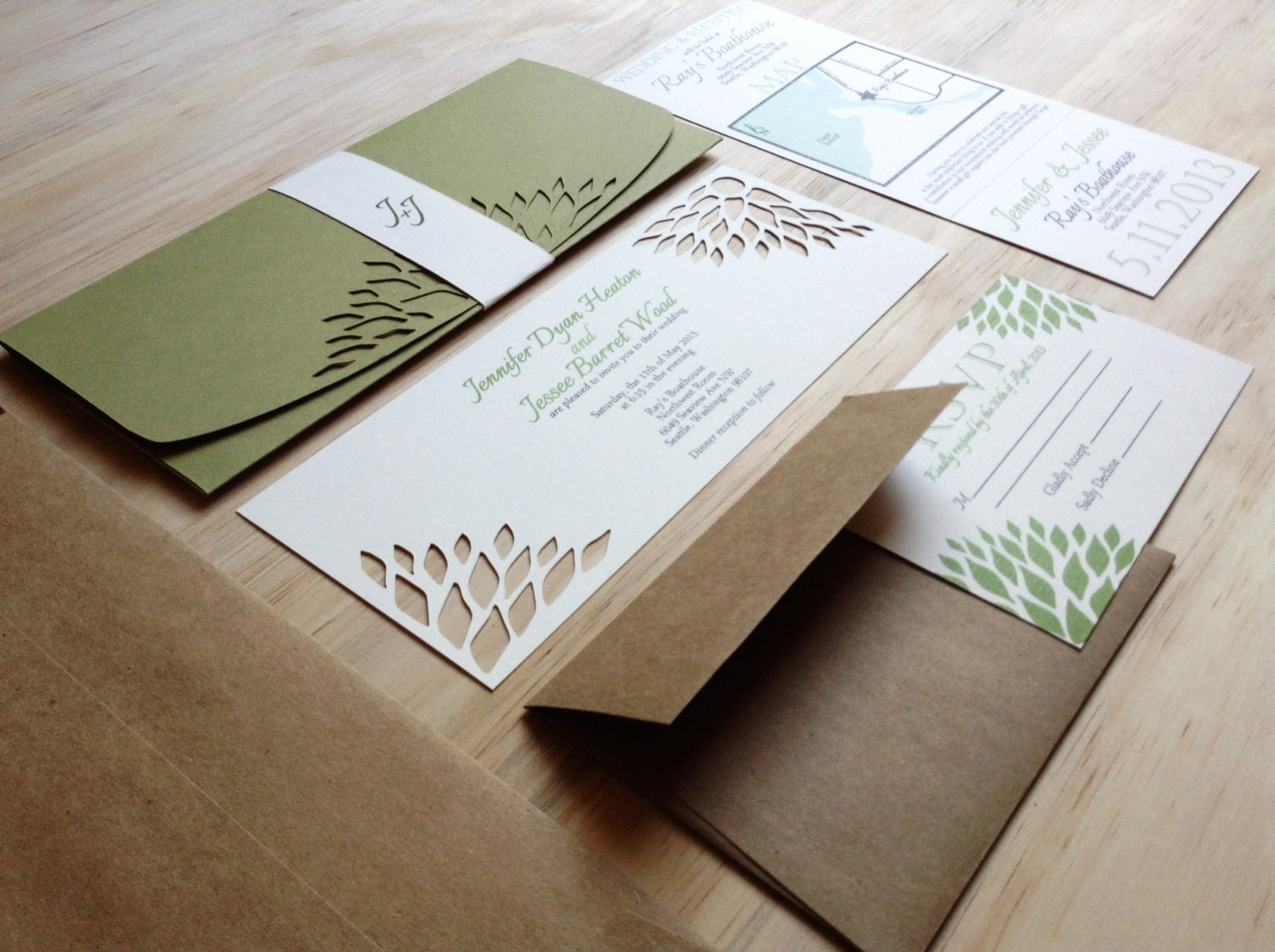 Custom Made Wedding Invitations: Simple Elegance Wedding Invitation Handmade Wedding