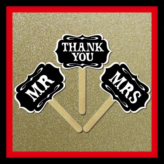 Mr and Mrs Thank You Wedding Signs - 3 Piece Set - Wedding Party Photo Booth Props