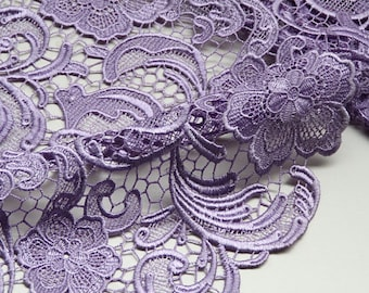 Light Purple Lace Fabric 3D hollowed embroidery wedding lace designer fabric