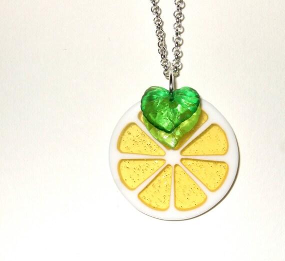 Lemon Necklace, Acid Yellow, Lemon Slice, Fruit Pendant, Yellow Glitter, Lemon Yellow, Citrus Necklace, Fruity Necklace, Decorative Lemon