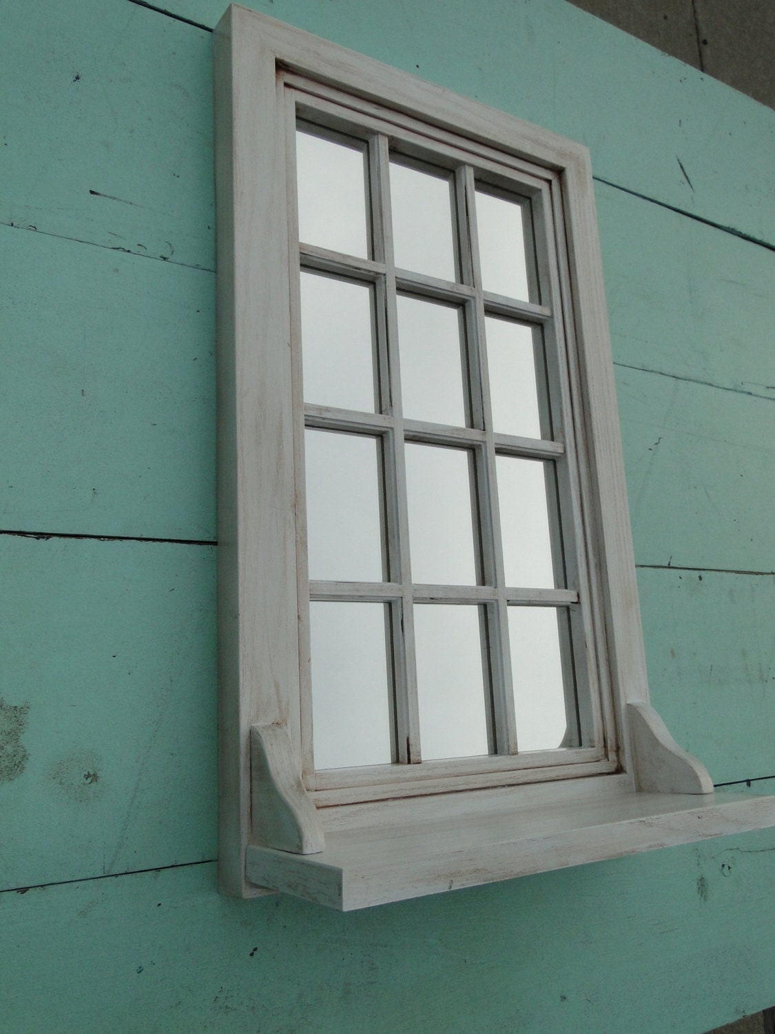 Vintage Window Sill Shelf Mirror In Distressed White Paris