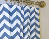 Pair of 2 Rod Pocket Curtains in Blue and White Chevron Zig Zag 50 x 84 96 108 120