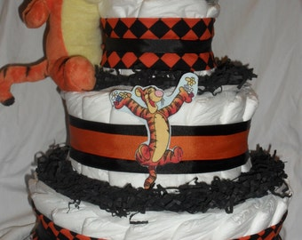 Orange and Black Tigger Diapercake with Tigger Plush