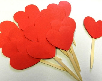 RED Hearts Valentine Cupcake Toppers Valentines Day