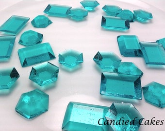 250 TURQUOISE EDIBLE SUGAR Jewels - Featured in Brides Magazine