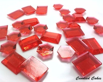 250 RED EDIBLE SUGAR  Jewels- Featured in Brides Magazine