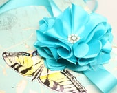 Blue Turquoise Flower Sash for Flower girl dresses bridesmaid dresses with rhinestone brooch