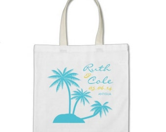 Beach Gift or Wedding Welcome Tote Bag - Palm Tree Personalized Tote in Ocean Blue/Sunshine Yellow
