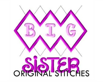 Argyle BIG Sister Applique and Machine Embroidery Digital Design File 4x4 5x7 6x10
