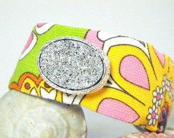 S A L E Handmade OOAK Bracelet in Bright Flowers with Faux Druzy