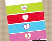 Rainbow Heart Water Bottle Labels or Drink Sleeves Printable valentine day party invitations by Luv Bug Design